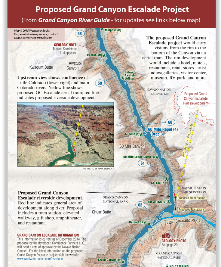 Grand Cayon Escalade Project - Detailed Grand Canyon River Guide Map by Westwater Books